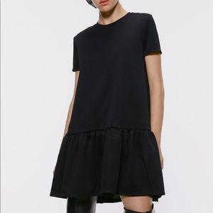 Zara Black Short Sleeve Dress with Ruffle Hem